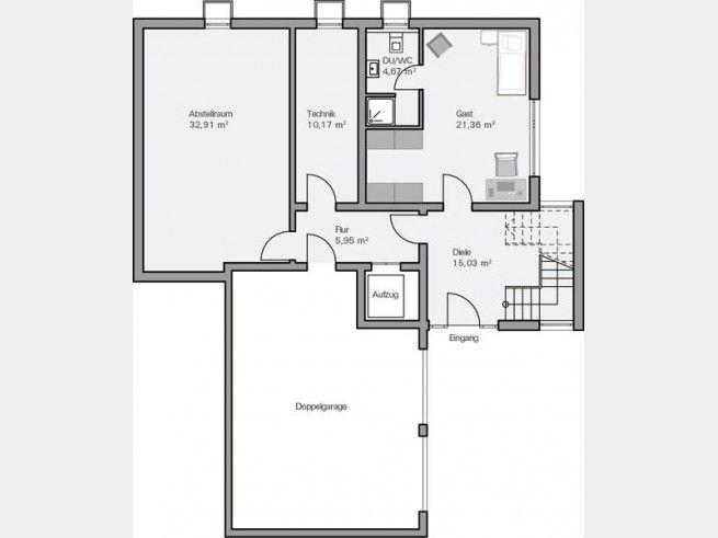 Grundriss kg modernes bauhaus mit doppelgarage und for Einfamilienhaus grundriss mit doppelgarage