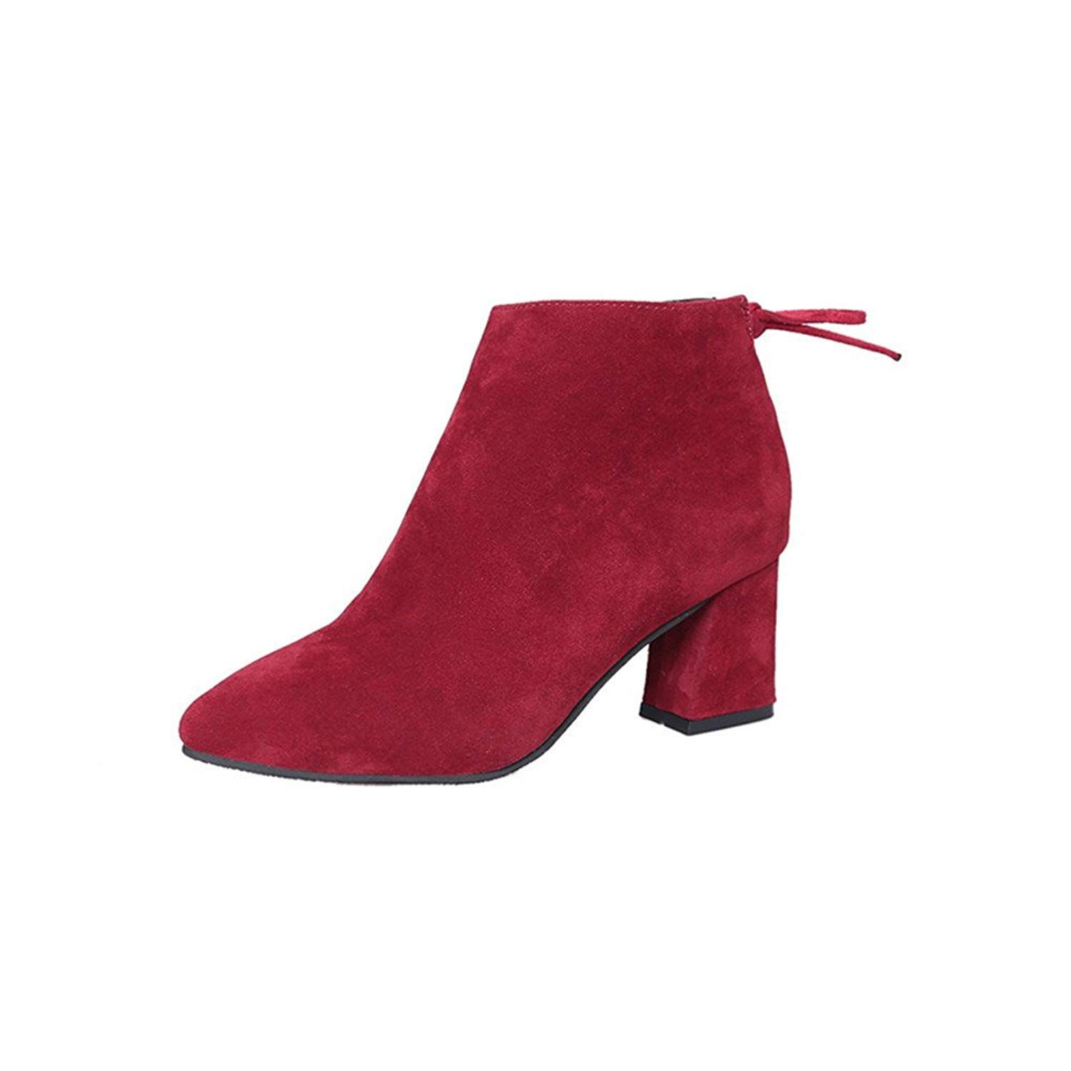 7fc51e929a7ca Women s Casual Ankle Booties Winter Cowboy Shoes Pointed Toe Low Heel  Inside Zipper Boot