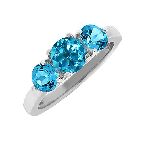 2.00 Ct 3-Stone Round Blue Topaz Sterling Silver Ring * For more information, visit image link.