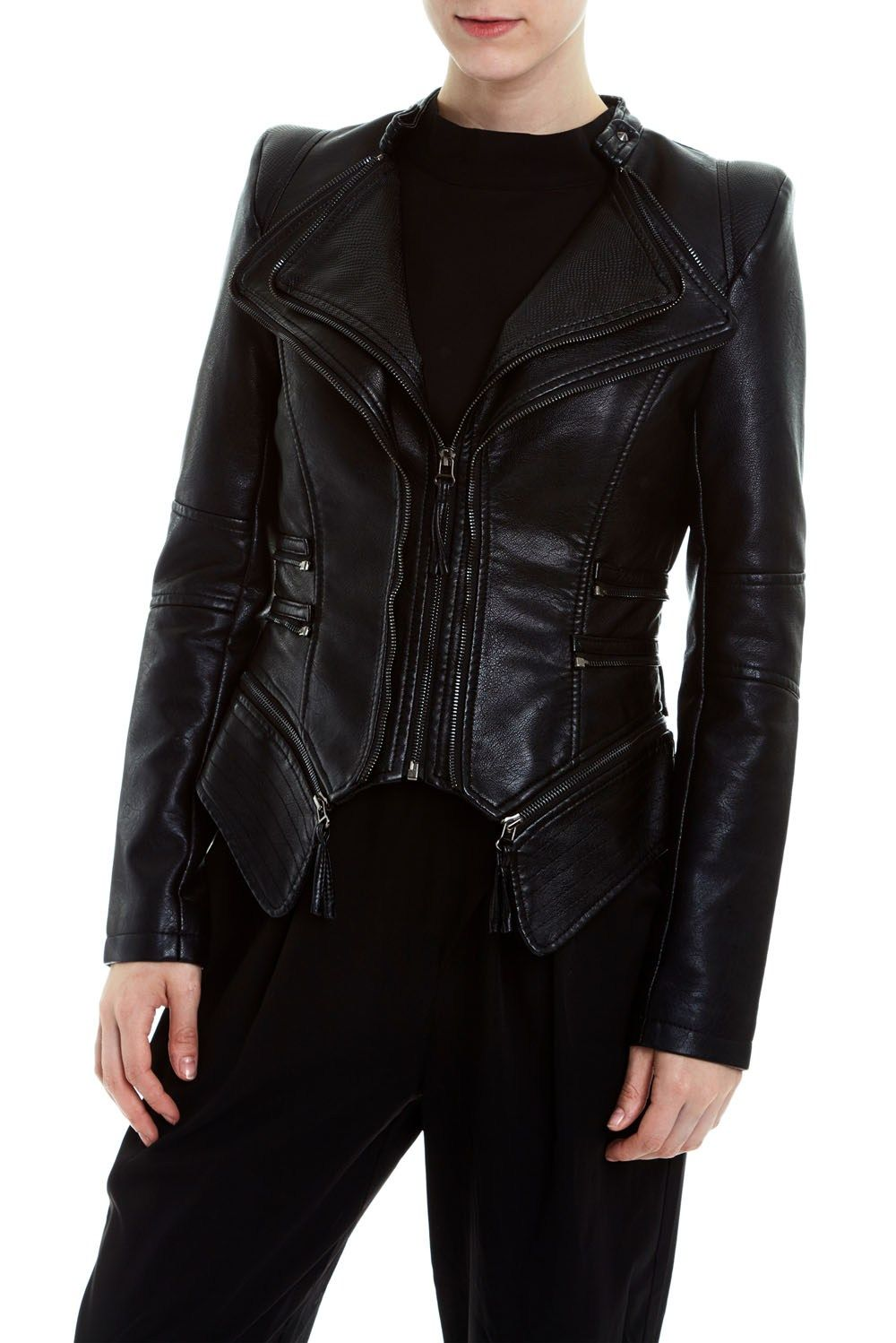 Double Zip Detail Jacket Jackets, Faux leather jackets