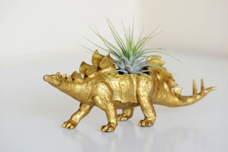 Upcycled Metallic Gold Dinosaur Planter De Dingading Sur