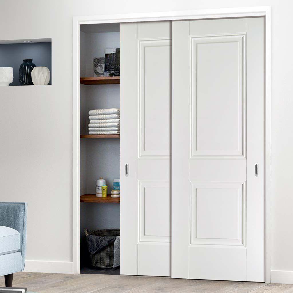 Two Sliding Wardrobe Doors Frame Kit Arnhem 2 Panel Door White Primed Sliding Wardrobe Doors Wardrobe Doors Sliding Wardrobe