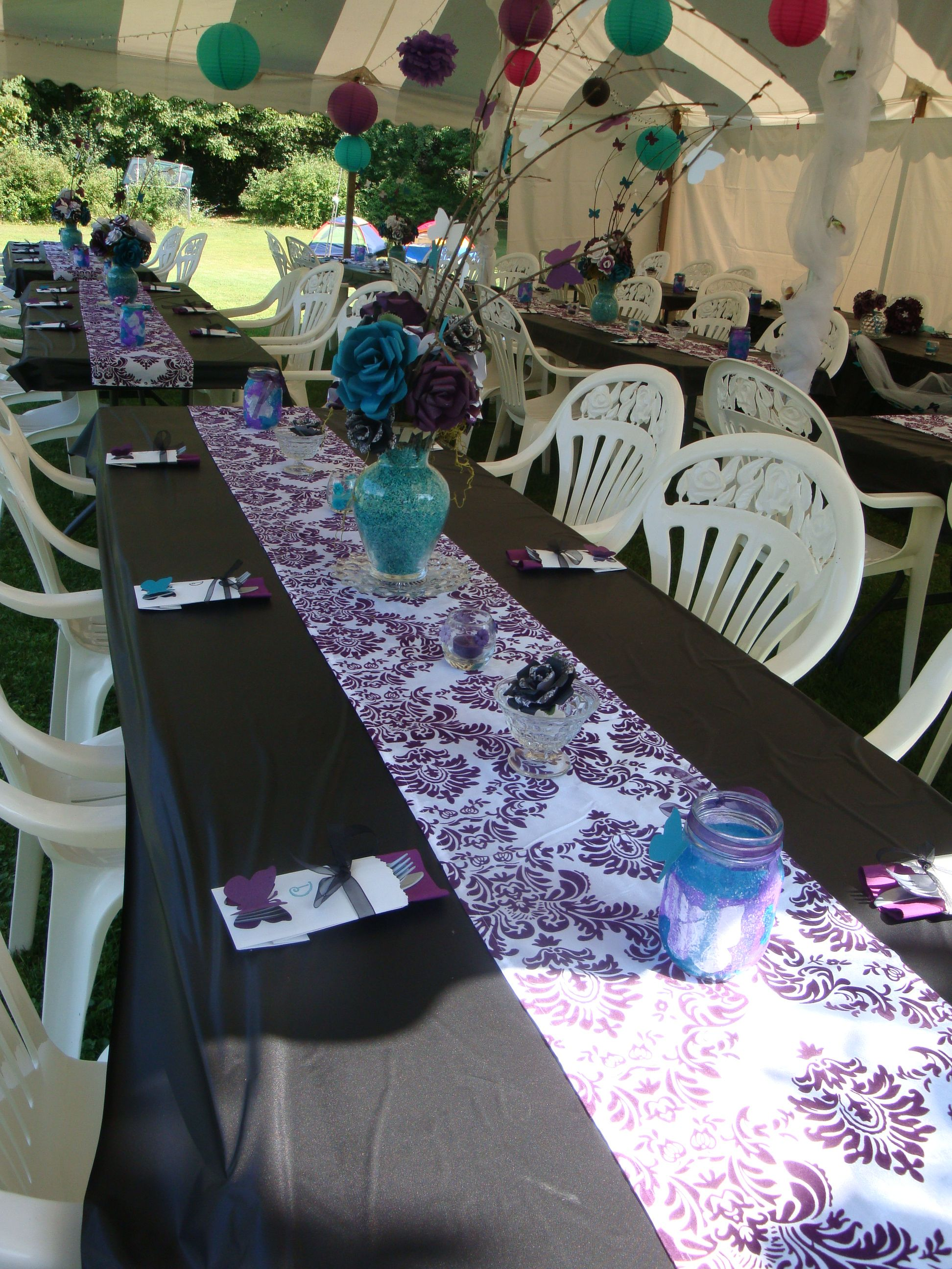 Table Decor, Black Plastic Table Cloth With Eggplant And White Runners,  Paper Flowers In