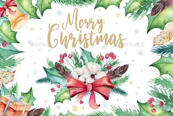 This Set Of High Quality Hand Painted Watercolor Christmas Elements Perfect Graphic For DIY Wedding Invitations Greeting Cards Quotes Blogs