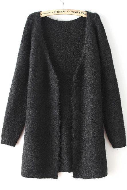 Black V Neck Long Sleeve Loose Knit Cardigan - Sheinside.com