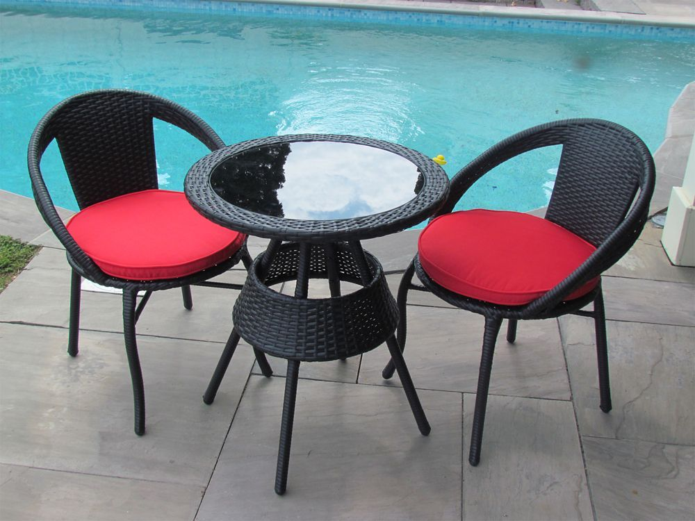 3 Piece Patio Bistro Set Black Round Table Steel Frame In Red