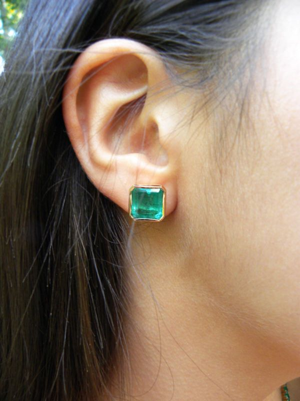 7 24ct Huge Bright Green Square Natural Emerald Stud Earrings 18k Gold Gorgeous Ebay