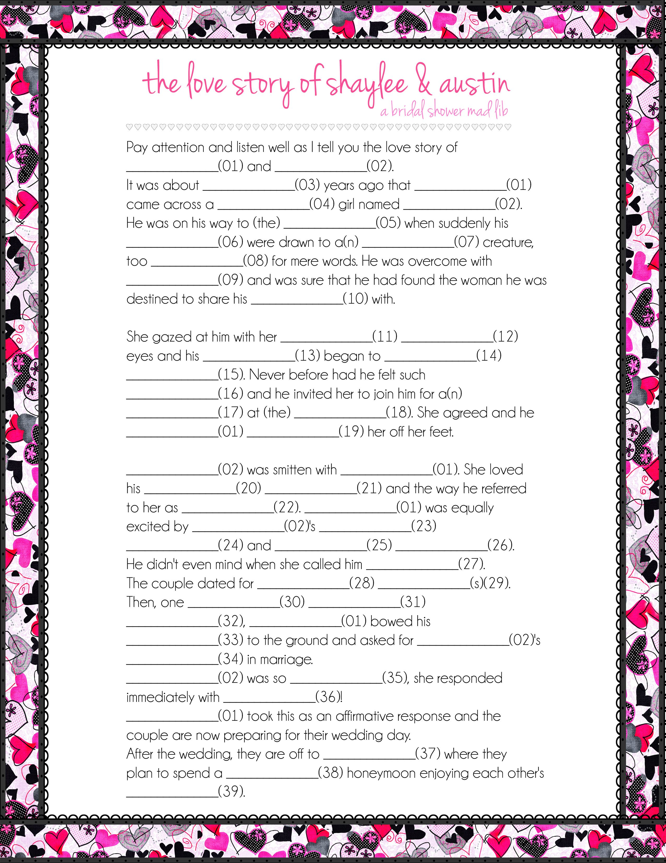 The Love Story Mad Libs