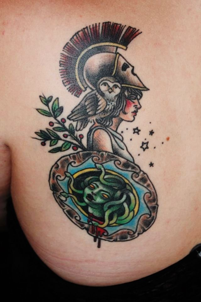 This is my athena tattoo i love her stories so i for Athena owl tattoo