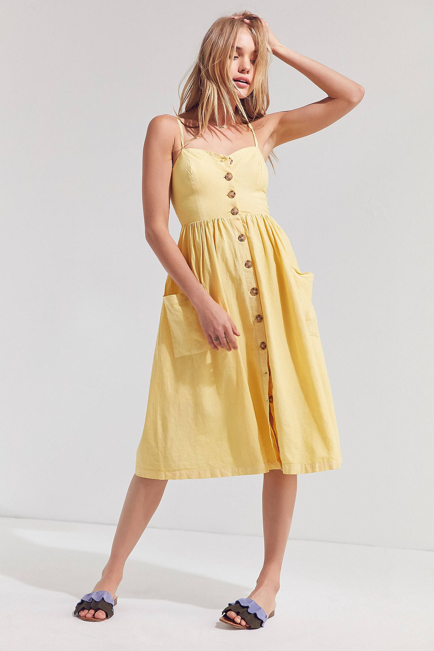 57c69b1f7c9 Shop the Cooperative Emilia Linen Button-Down Midi Dress and more Urban  Outfitters at Urban Outfitters. Read customer reviews