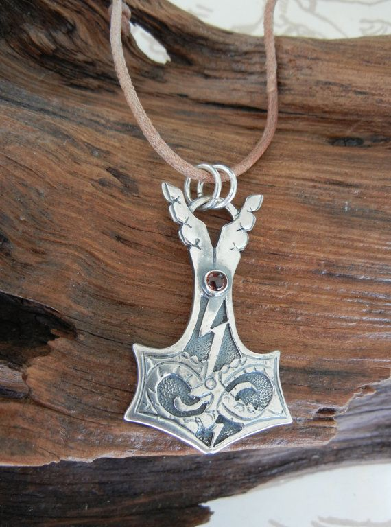 Jörmungandr Style Silver Thor's Hammer Pendant with by HammerSol