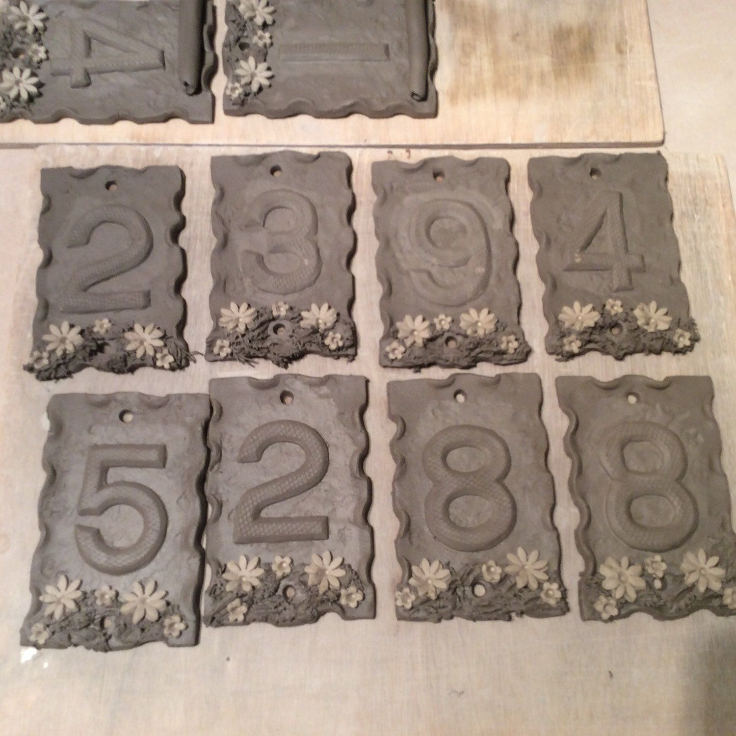 House numbers ceramic door number plaque frost proof 55 x 35 a few more house numbers almost ready for glazing tile house numbersceramic dailygadgetfo Choice Image