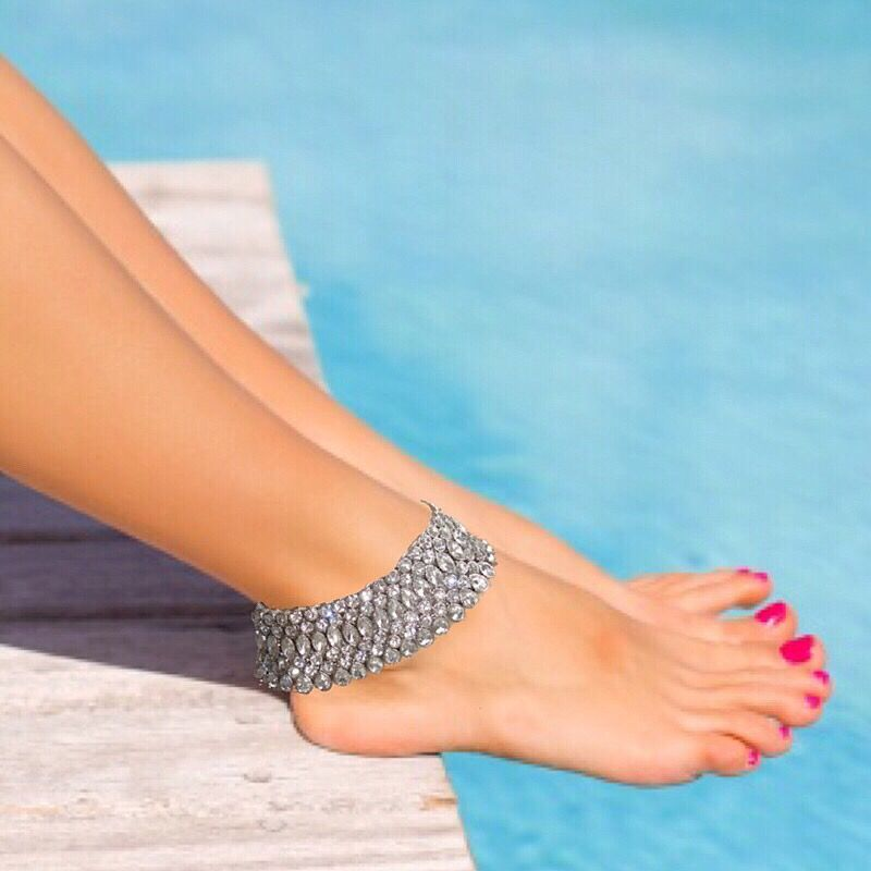 Luxe Crystal Beach Weddings Bling Ankle Foot Jewelry With Crystals For Bohemian Wedding Tropical