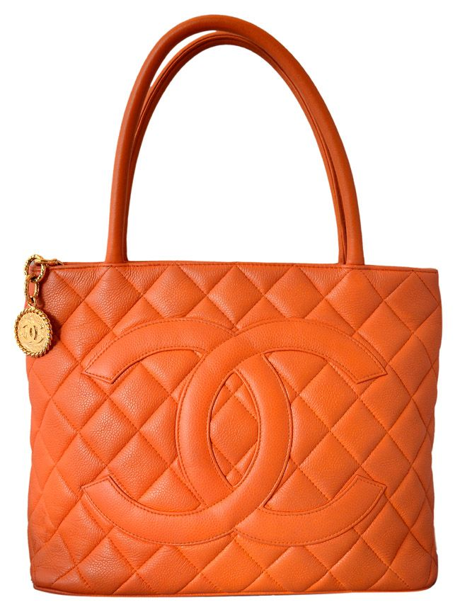 a5ec54a6a5db Chanel Orange Quilted Caviar Leather Gold Medallion Tote Handbag ...