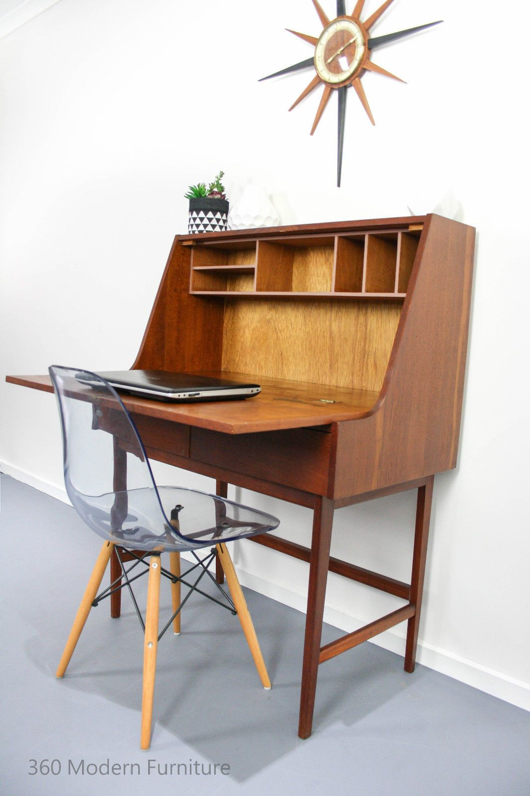 mid century modern desk cabinet vintage retro sideboard teak danish hall stand in home garden - Mid Century Modern Furniture Desk