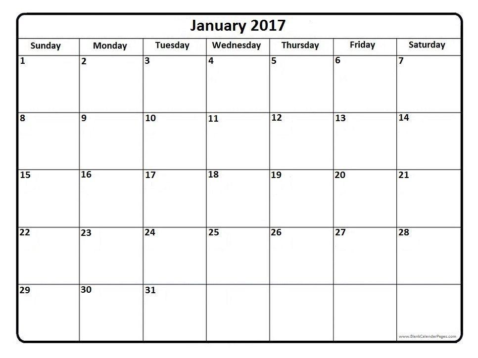 January 2017 Printable Calendar Page Calendar Printables Blank