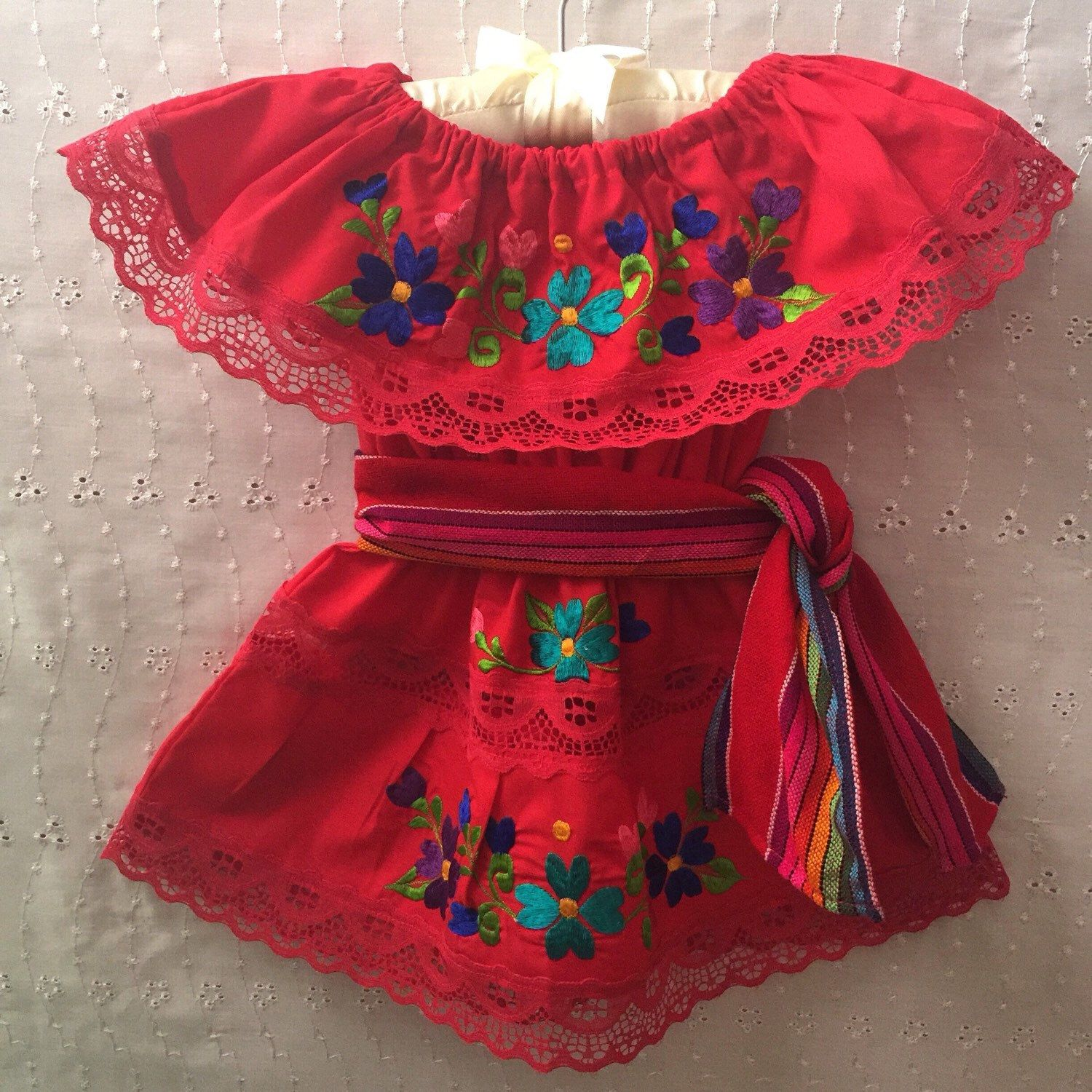 101d7201082 Mexican girl dress with colorful flowers