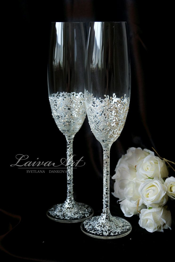 Wedding Champagne Flutes Wedding Champagne Glasses Toasting Flutes Lace Weddi