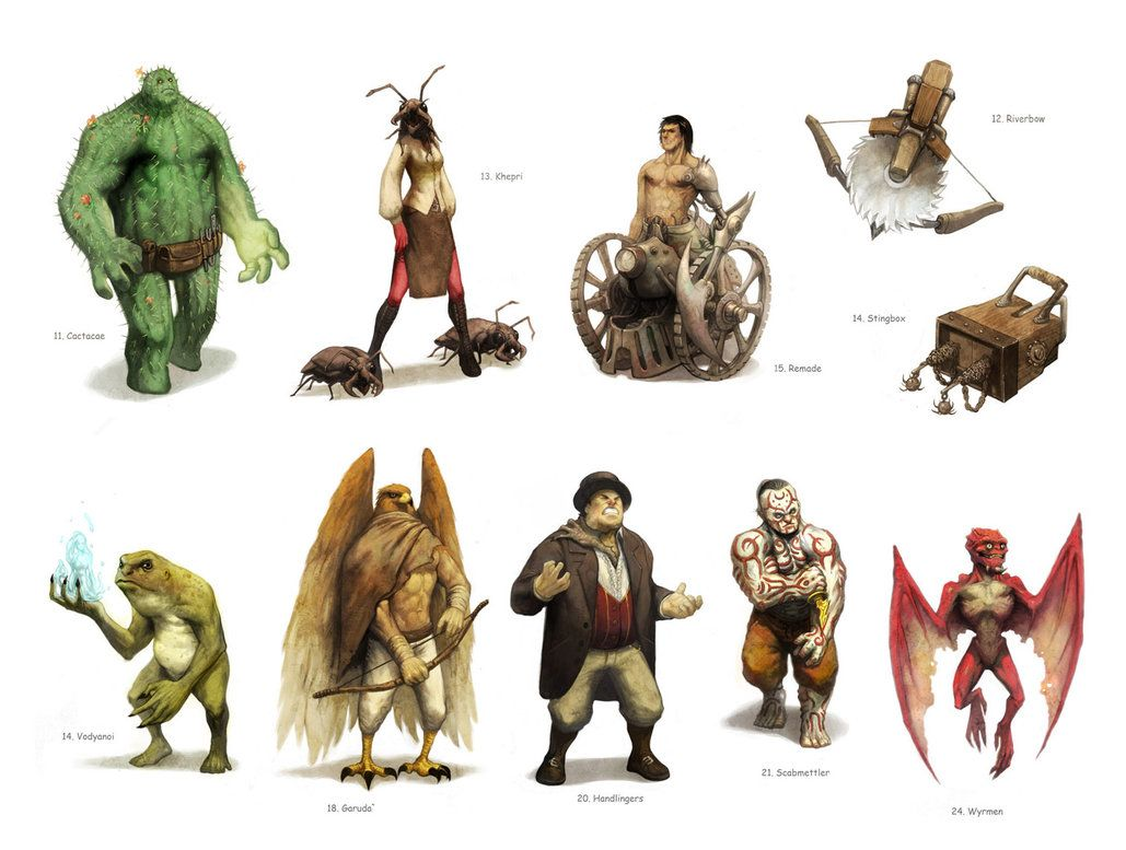 An artist's depiction of China Mieville races from Bas Lag.