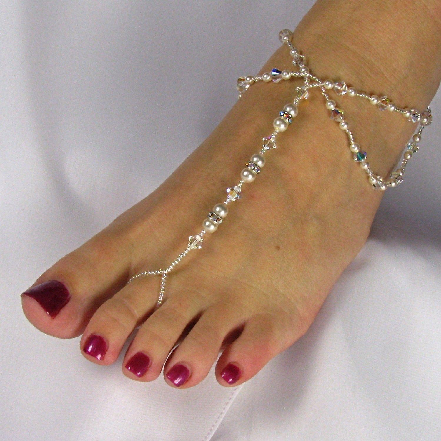 cd33c87b45e Barefoot Sandals Beach Wedding Sandal Bridal Foot Jewelry Bridal Sandal  Swarovski Crystal Rondell Pearl Design 5 by TwoBeWedJewelry on Etsy ...