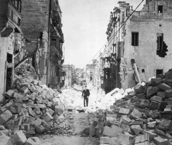 The ruins of Victory Street in Senglea, Malta,