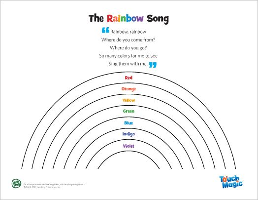 leapfrog the rainbow song encourage your child to find all the colors of the rainbow - All The Colors Of The Rainbow Song