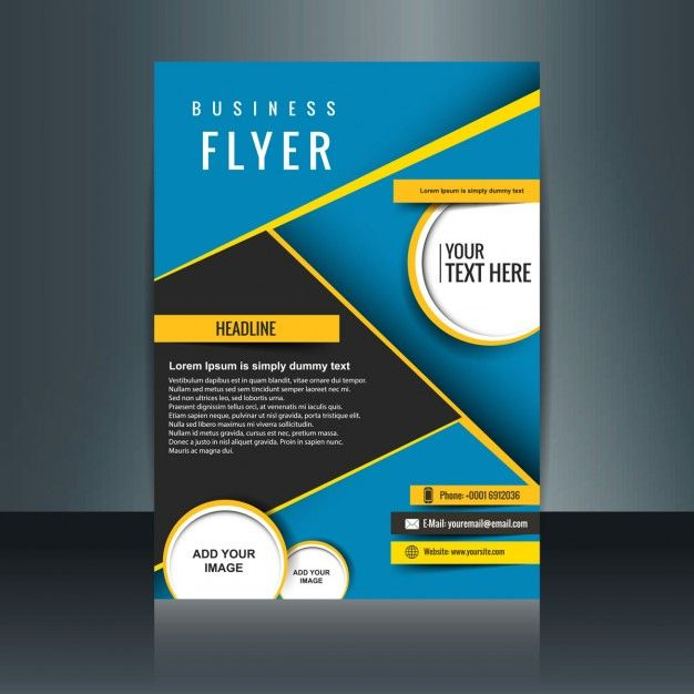 Abstract blue business brochure with yellow details Free Vector - business pamphlet templates free