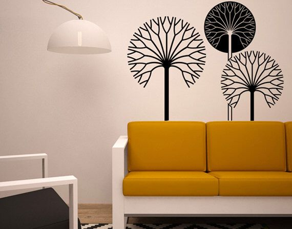 Decorative Trees Wall Sticker   Nature Wall Vinyl   Black And Brick Red  Trees Wall Decal Living Room   Leafles Trees In The Winter Mural