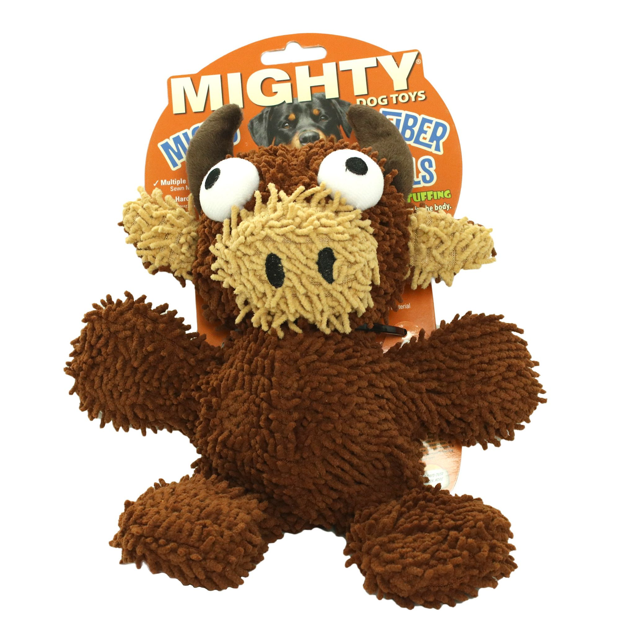 Mighty Dog Toys Microfiber Ball Bull Dog Toy Plush Squeaker