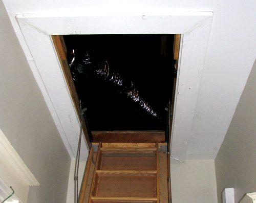 Winterizing Tip Insulate Your Attic Door Greenupgrader Attic Doors Attic Spaces Insulation
