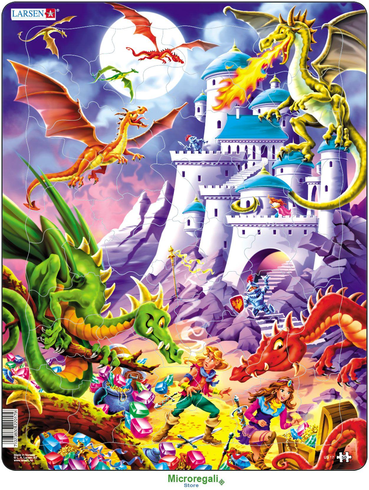 Puzzle per Bambini DRAGHI CARTOONS cm 36x28 (50 pezzi). Larsen. - Puzzle, Puzzle in Legno e Giganti - Regali per i BAMBINI