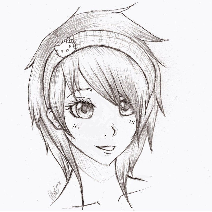Anime Pencil Drawing Cute Black And White