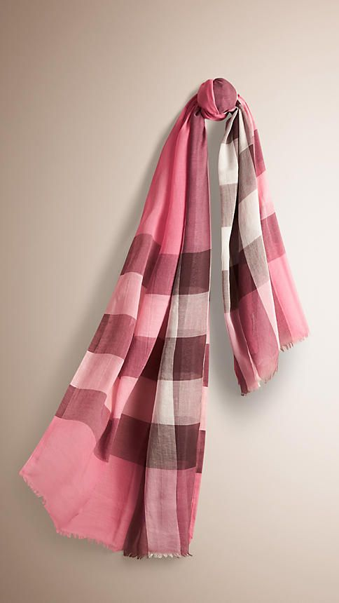 0ea1c2ed6912 Burberry Rose Pink Check Modal Cashmere and Silk Scarf - Check scarf in  lightweight modal