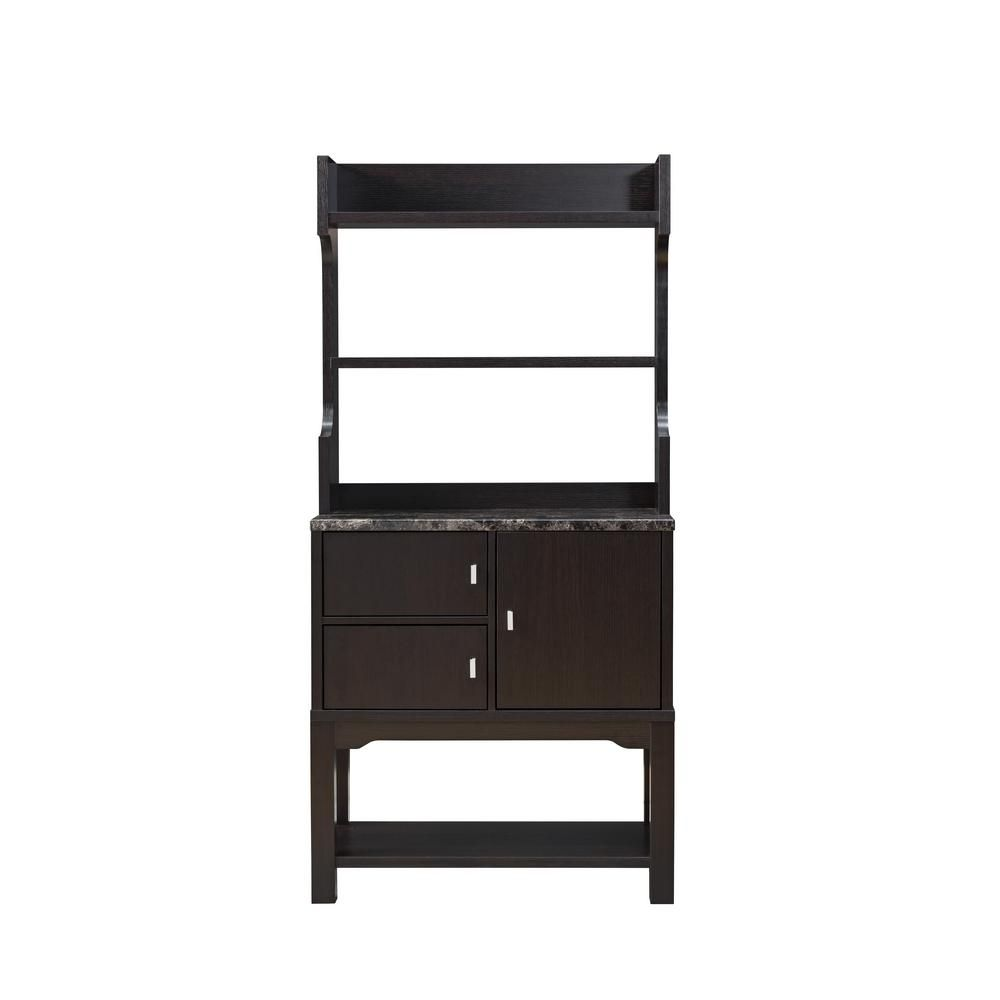 Furniture Of America Grider Espresso Baker Rack Double Door Brown