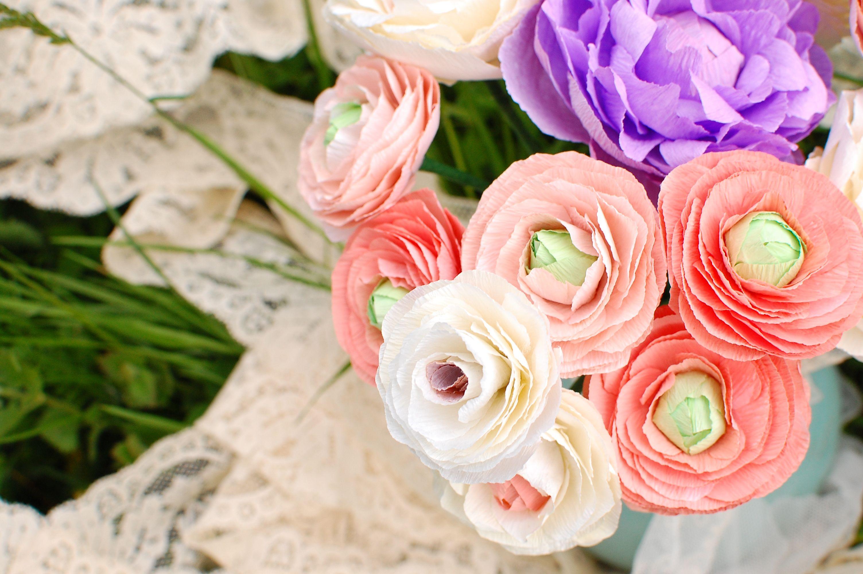 Soft Pink Paper Ranunculus Paper Flowers Ranunculus Pinterest