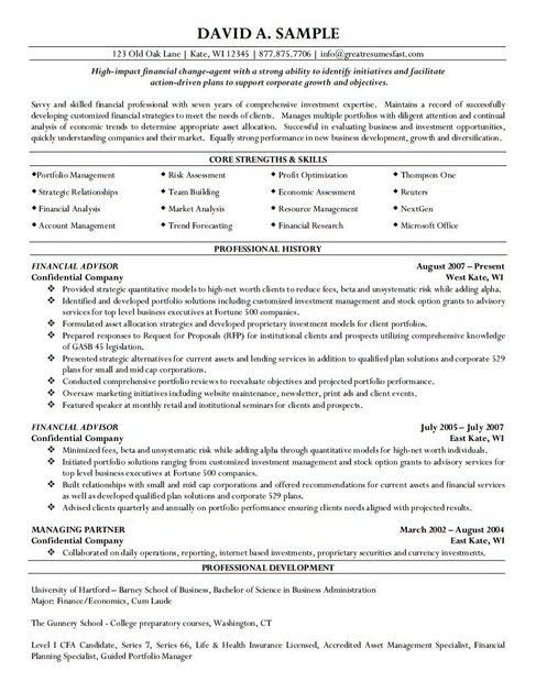 Financial Advisor Resume Objective Enchanting Resume Financial Advisor Example  Httptopresumeresume .