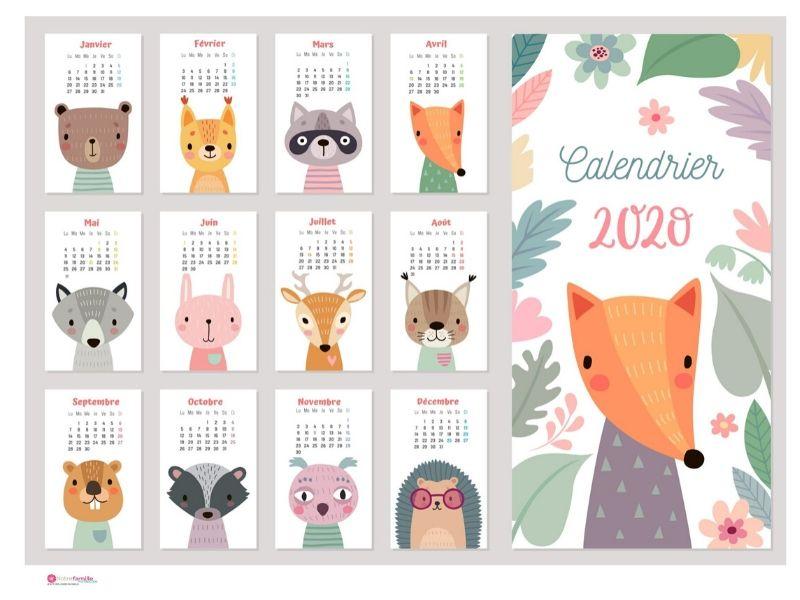 Calendriers 2020 à imprimer pour les enfants en 2020 | Calendrier