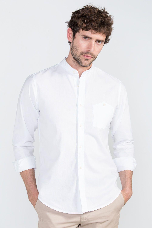 32ab8d5548 Cortefiel Camisa cuello mao Blanco