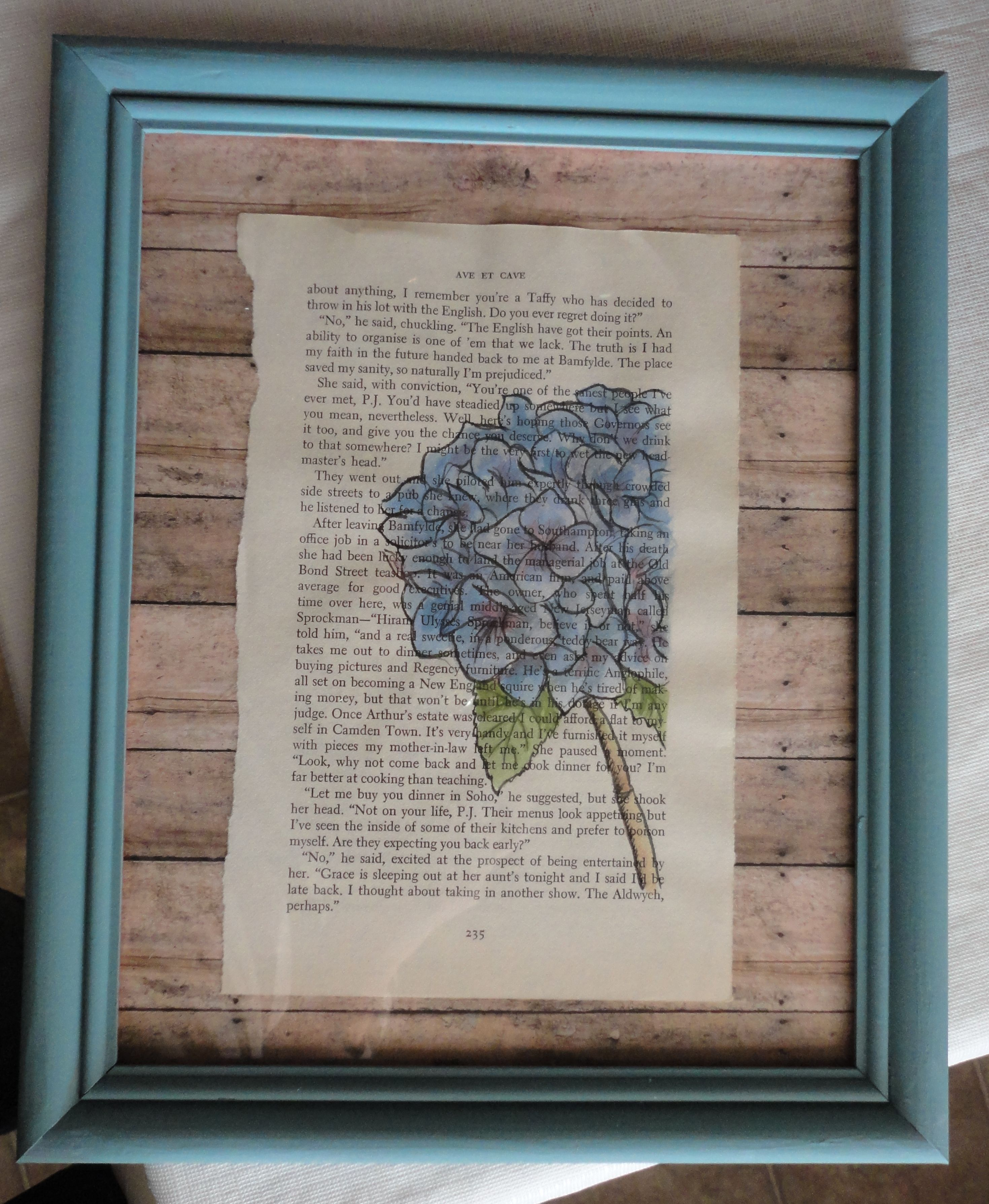 Scrapbook paper booklet - Watercolor Of A Hydrangea Done On An Old Book Page With Scrapbook Paper In The