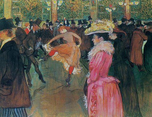 """""""Dance at the Moulin-rouge"""" by Toulouse lautrec  """"물랑루즈에서 춤을""""이라는 작품이다. 인물의 크기로 깊이와 거리감이 표현된 화면에는 홀을 지나가고 있는 사람, 춤을 추고 있는 사람들이 보인다. 여성 무용수와 함께 춤을 추고 있는 왼쪽의 남자는 몸놀림이 너무 유명해 '뼈 없는 발랑탱' 이라고 불린 명물이었다고 한다.    하루 동안 받았단 스트레스와 압박감을 시끄러운 밤을 통하여 잊어보고자 한 적이 있지 않은가? 모르는 사람들 속에서 시끄러운 소리에 몸을 묻고픈 심정이다."""