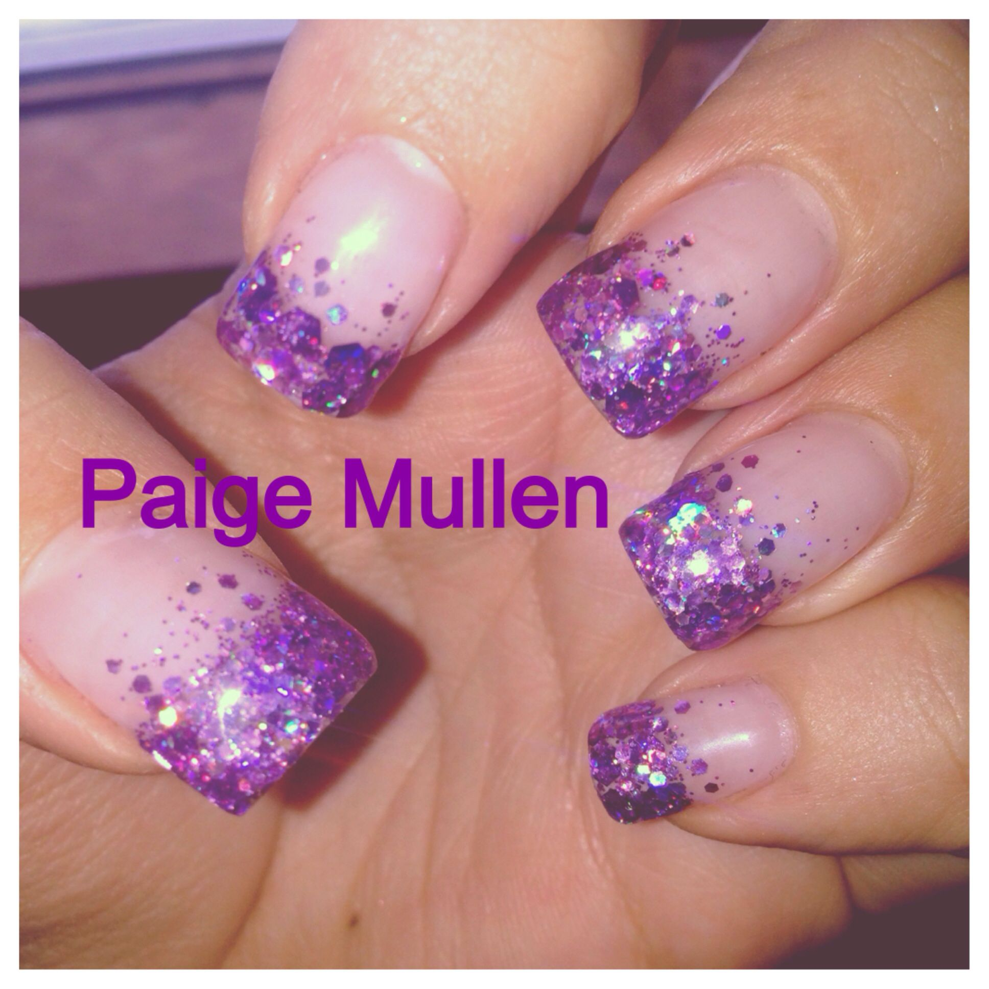 my new set of gel nails .. purple sparkles french tips ...
