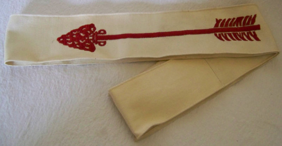 Vintage Boy Scout Order of the Arrow Red White Sash Embroidered