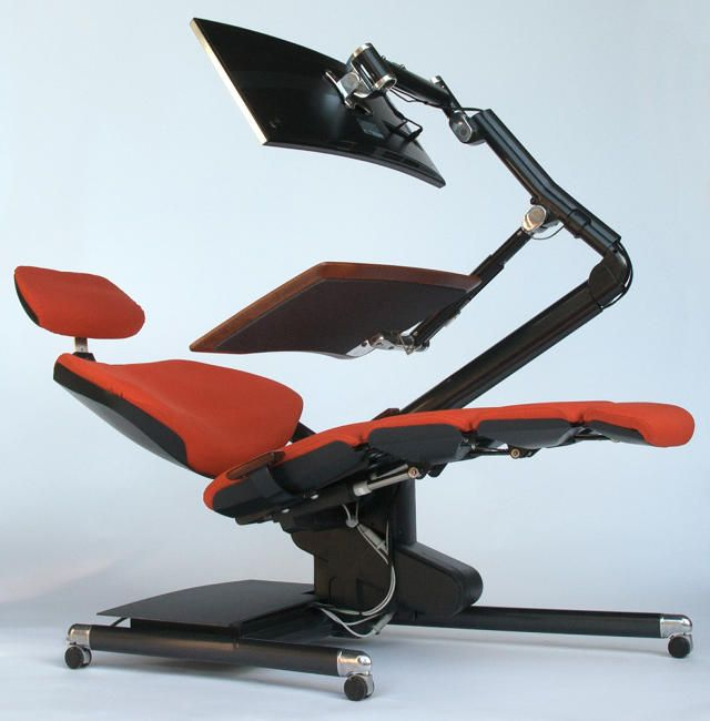 Instead Of Standing Why Not Lie Down While You Work This Desk Lets You Do Both Ergonomic Desk Desk Gaming Room Setup