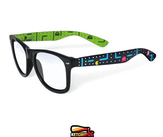 f41a6d6c503 Pac-man glasses - Custom Wayfarer clear lens glasses Pacman unique hand  painted