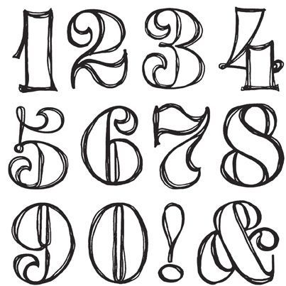 Sassafras lass clear stamp sets swirly numbers for Classic house number fonts