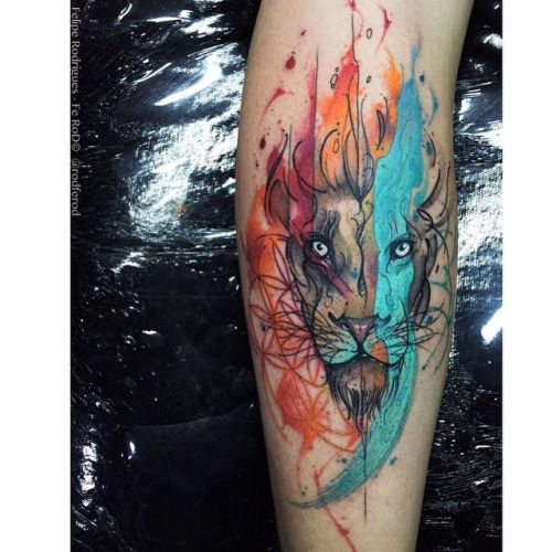 #liontattoo by @rodferod /// #Equilattera #tattoo #Tattoos...