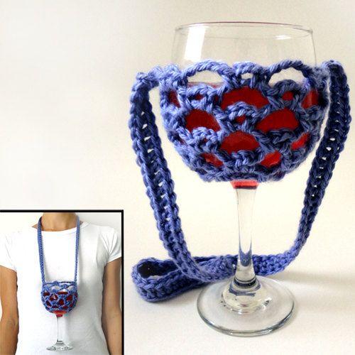Crochet Wine Glass Lanyard Holder Free Patterns Crochet Coaster