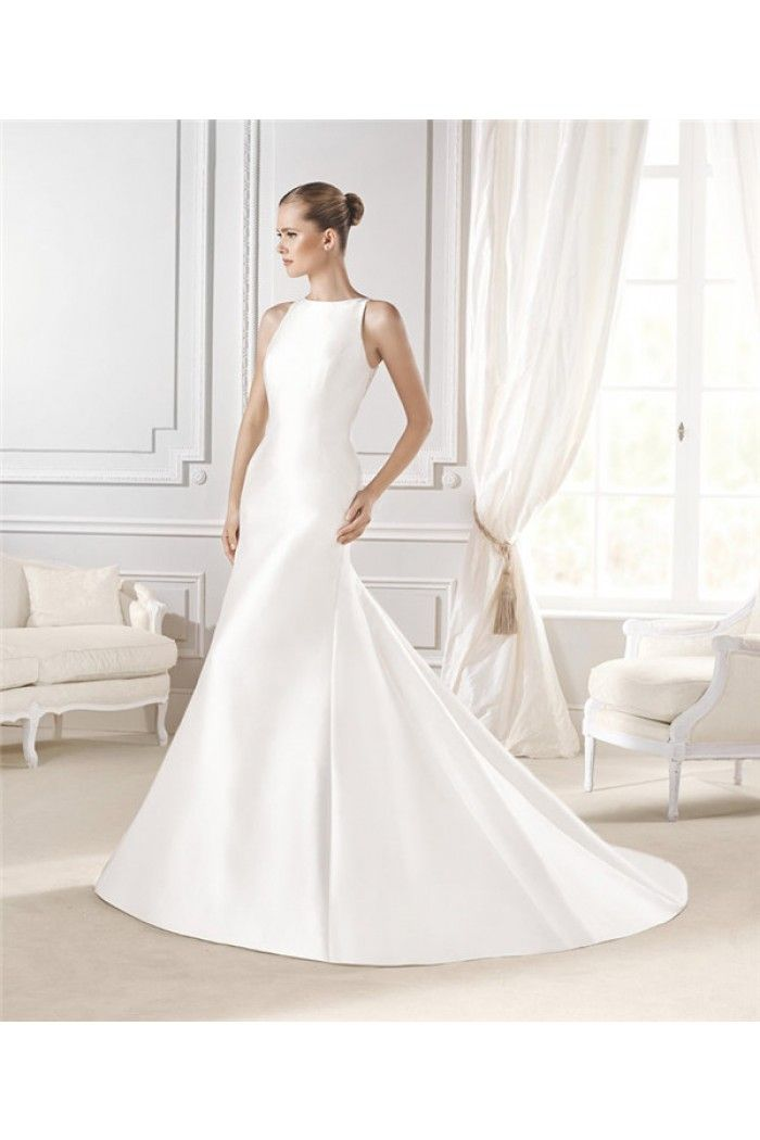 Fitted Mermaid Sleeveless Sheer Lace Back Satin Wedding Dress With Buttons
