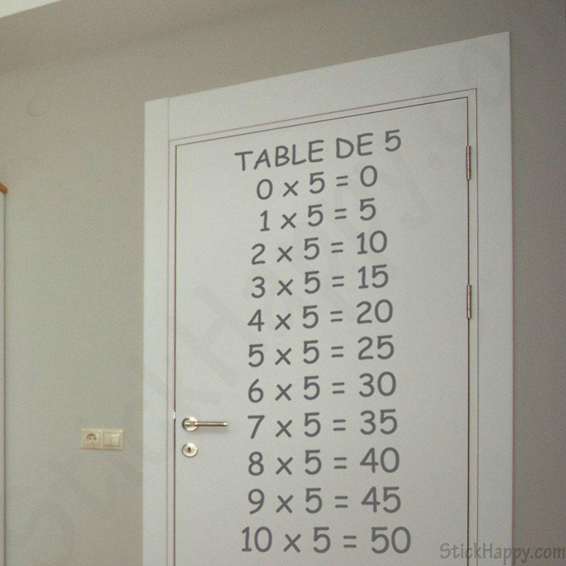 Stickers table de multiplication par 5 http www for Table de multiplication par 5