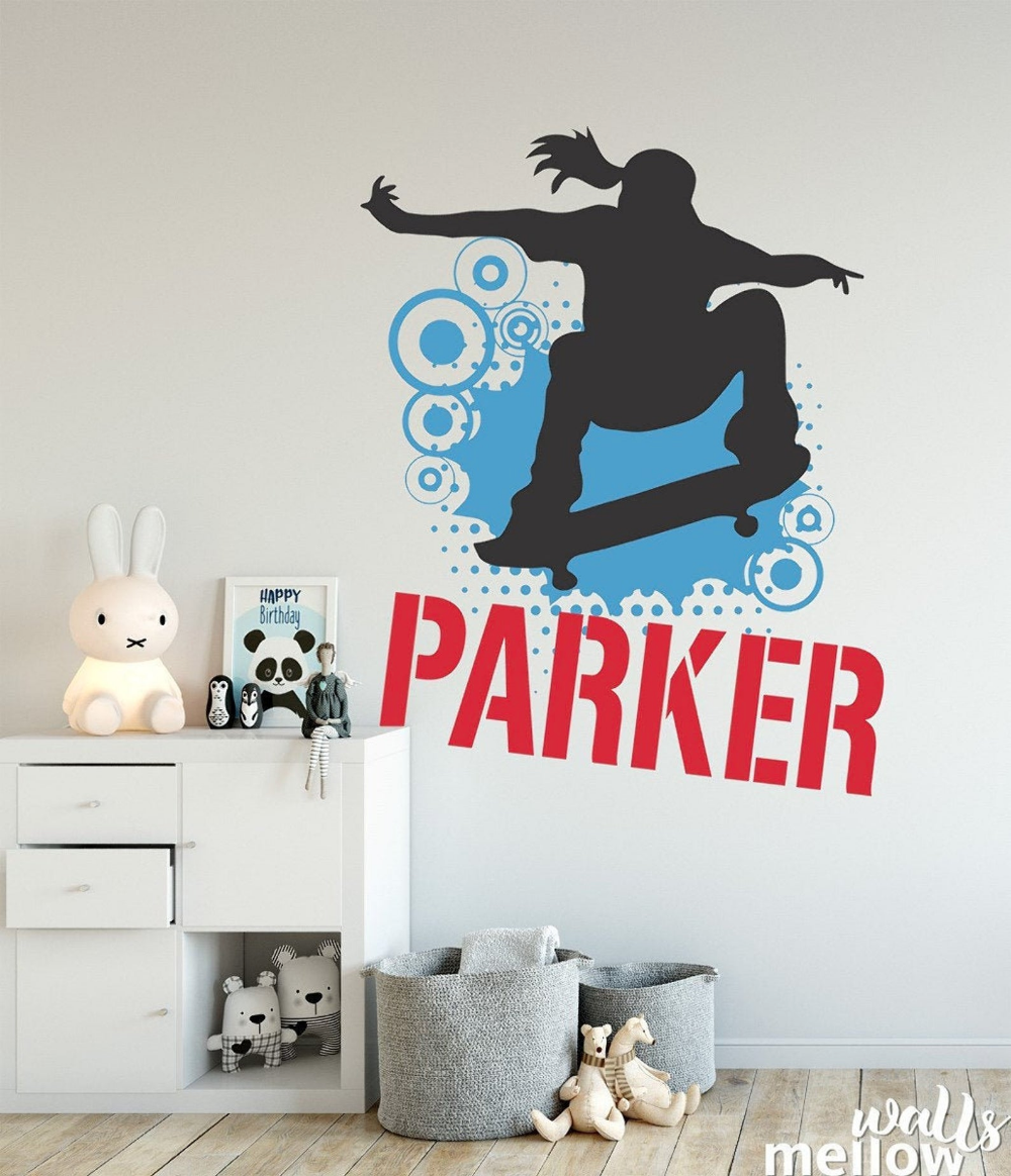 Skateboard Wall Decal Skater, Colorful Wall Decals